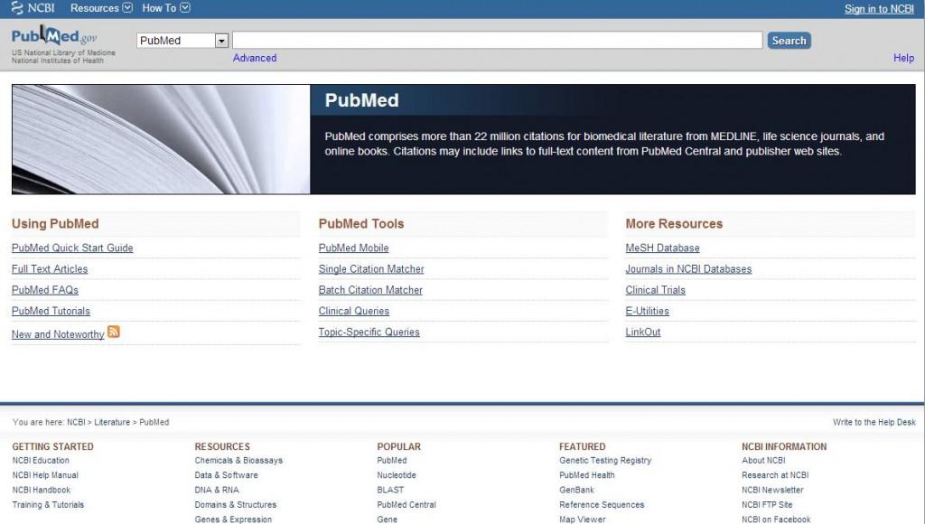 Strona główna bazy PubMed
