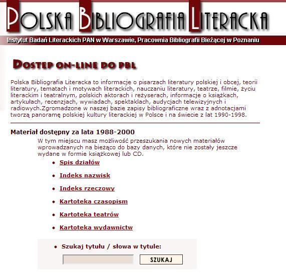 Strona główna Polskiej Bibliografii Literackiej