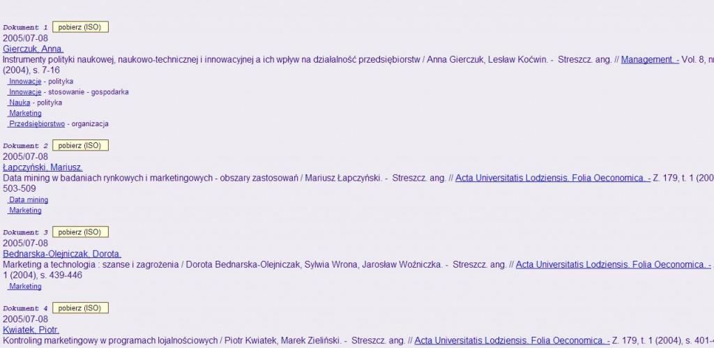 przykład wpisów w bazie bibliograficznej