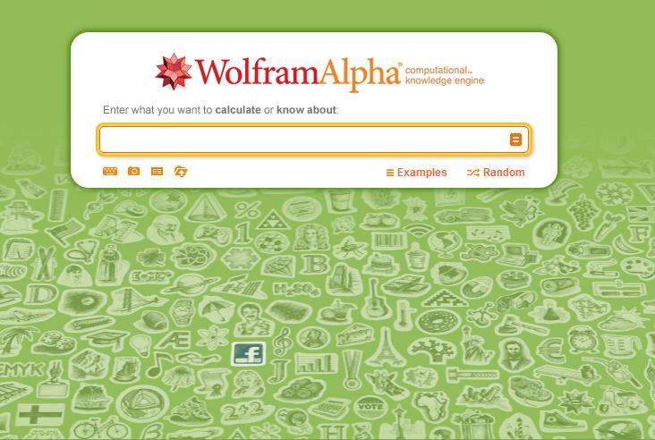 Strona główna wyszukiwarki wiedzy Wolfram Alpha
