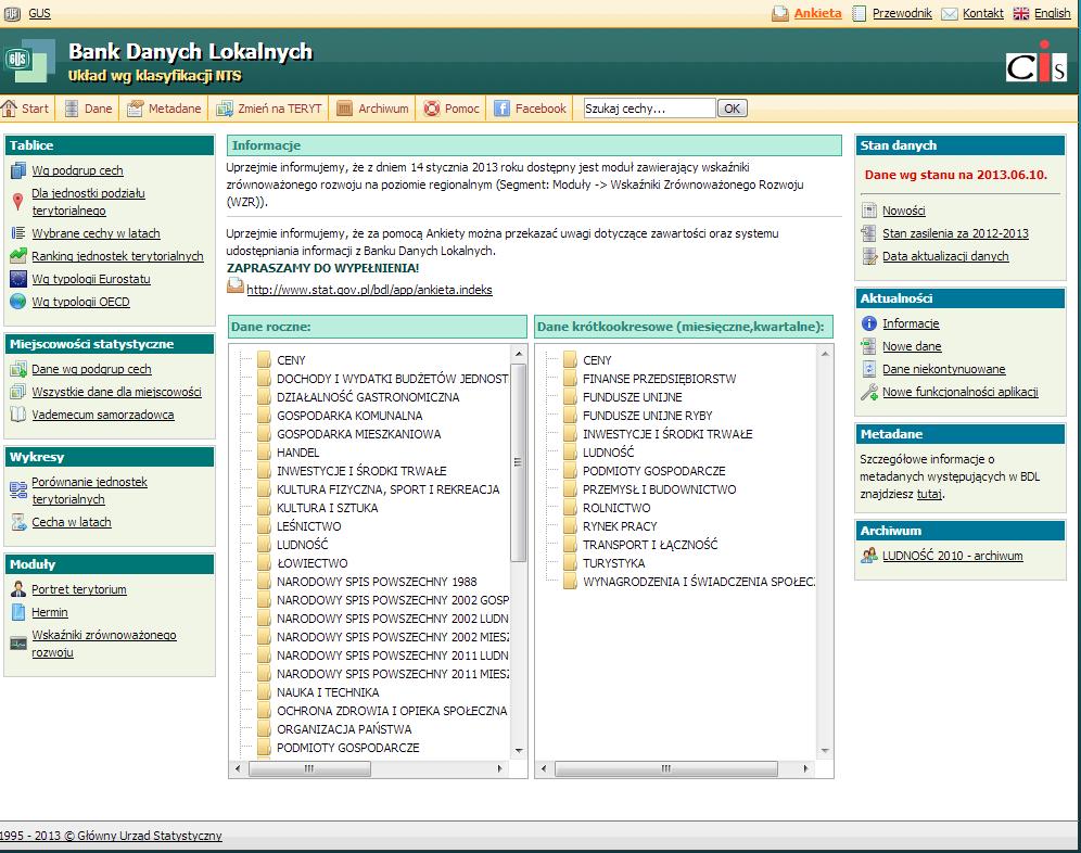 Zrzut z ekranu strona Banku Danych Lokalnych GUS