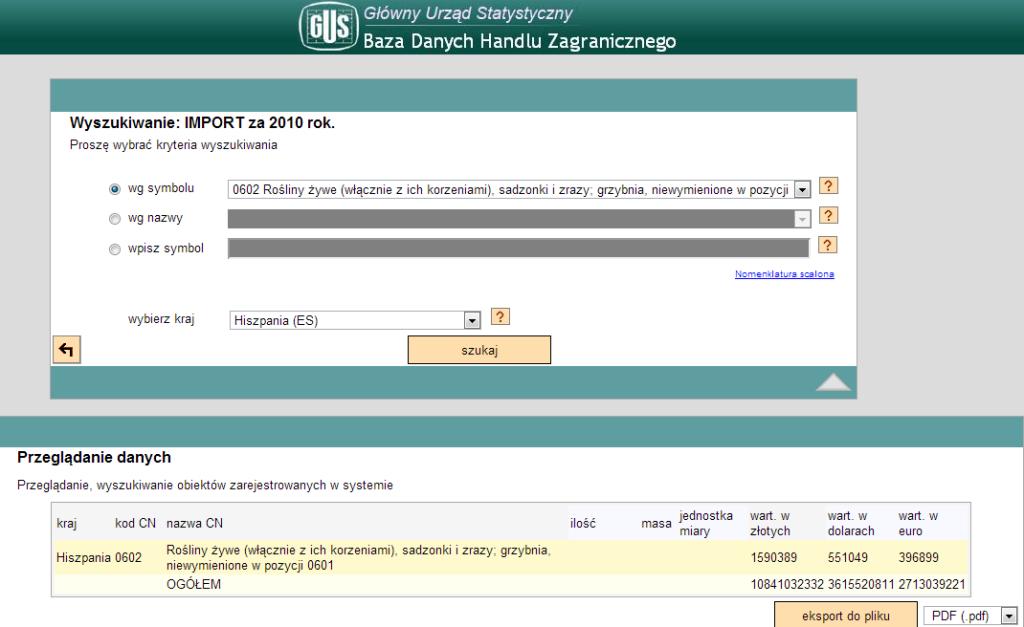 Wynik wyszukania wielkości  importu z Hiszpanii do Polski w 2011 na określoną grupę towarów